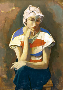 Karl Hofer, The contemplative woman, 1936, oil on canvas, 100 x 70 cm