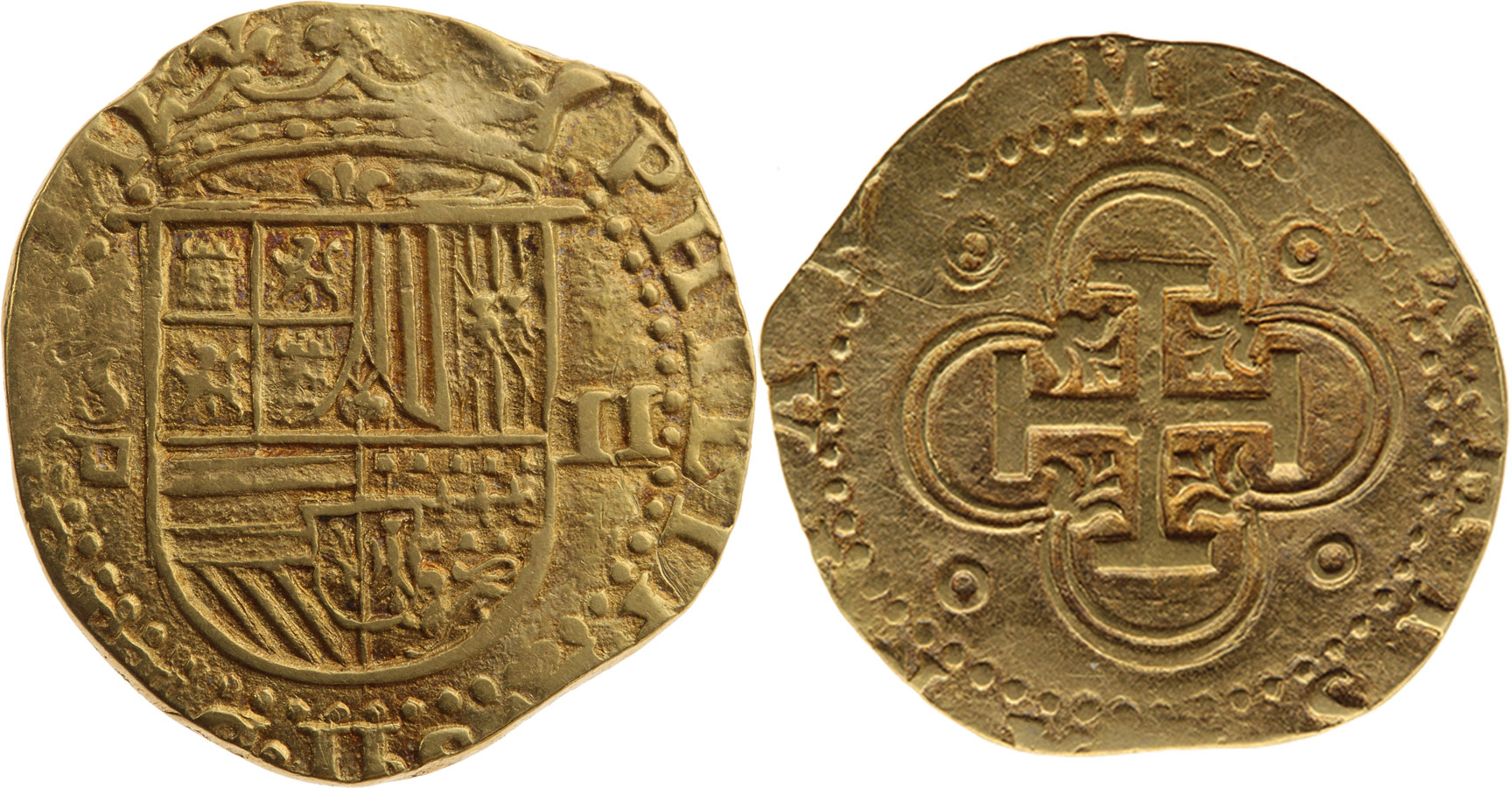 Kingdom of Spain, Philip II 2 escudos (doubloon), n. d. (1556–1598)
