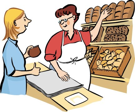 Person buying bread from a bakery