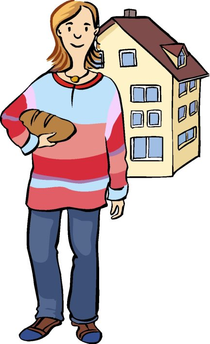 Person standing in front of a house holding a loaf of bread and wearing a jumper