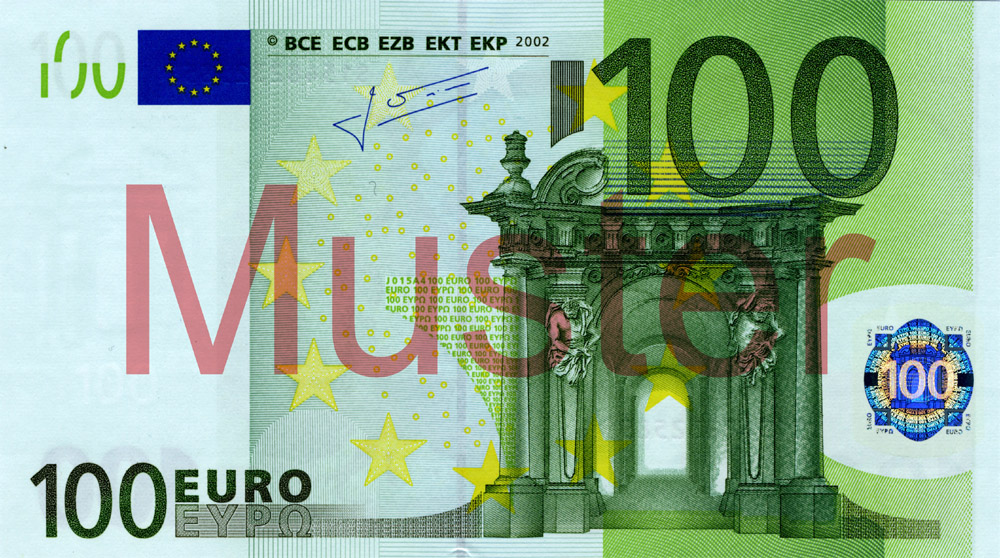 €100 banknote, 1st series - front side