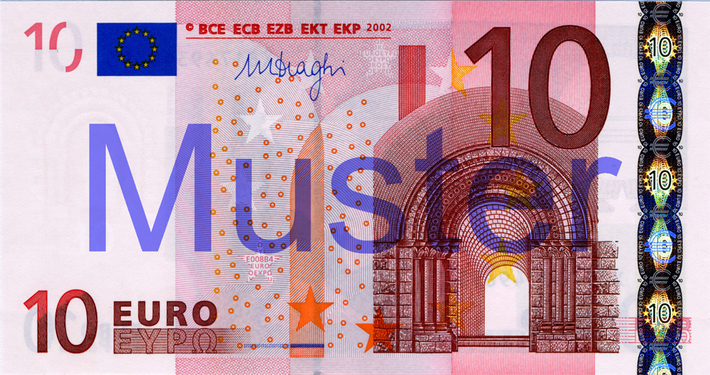 €10 banknote, 1st series - front side