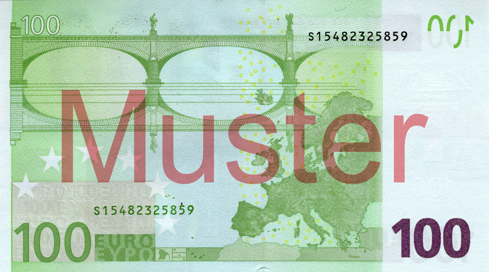 €100 banknote, 1st series - reverse side