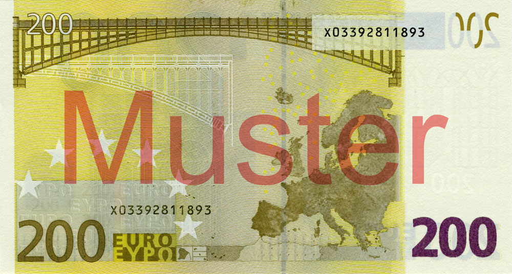 €200 banknote, 1st series - reverse side