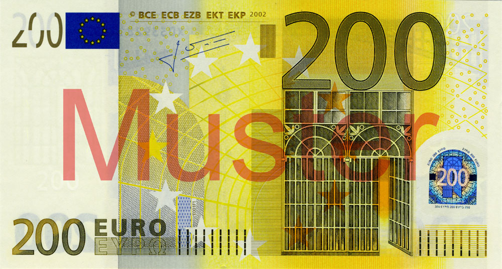 €200 banknote, 1st series - front side