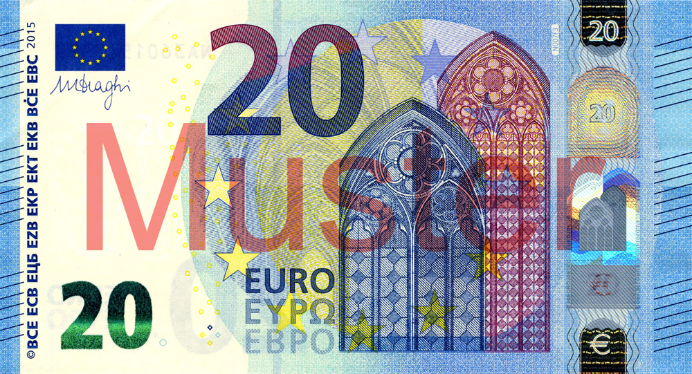 €20 banknote, Europa series - front side