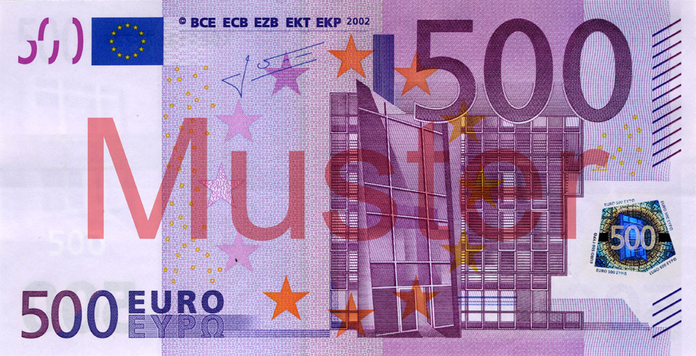 €500 banknote, 1st series - front side