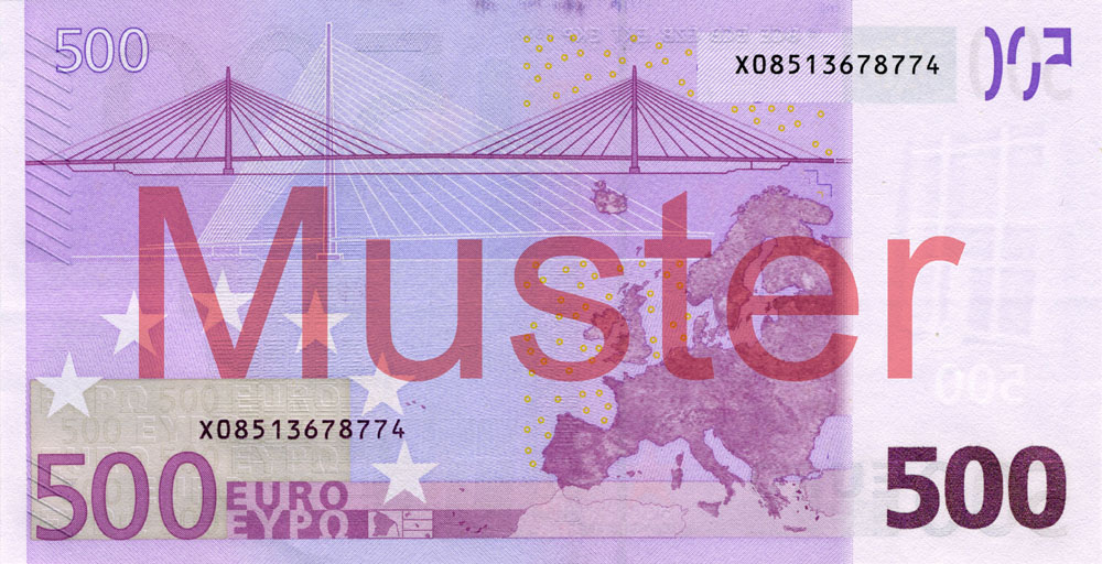 €500 banknote, 1st series - reverse side
