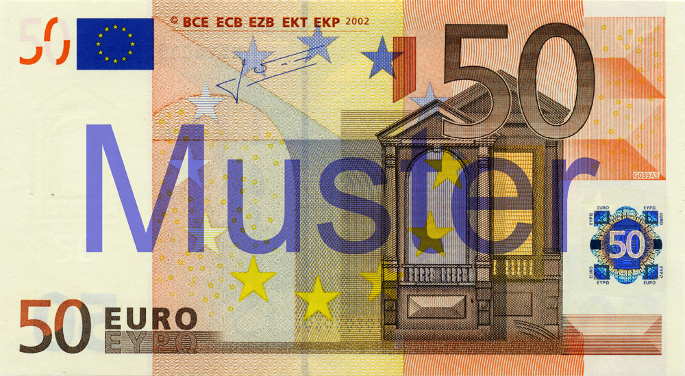 €50 banknote, 1st series - front side