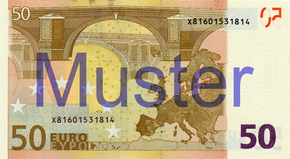 €50 banknote, 1st series - reverse side
