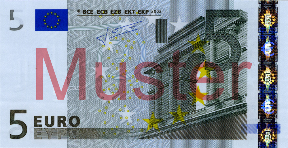 €5 banknote, 1st series - front side