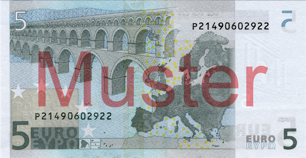 €5 banknote, 1st series - reverse side