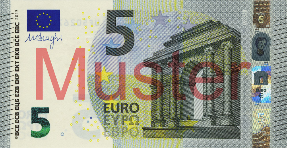 €5 banknote, Europa series - front side