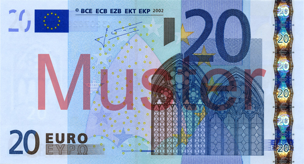 €20 banknote, 1st series - front side