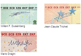 Signatures on euro banknotes