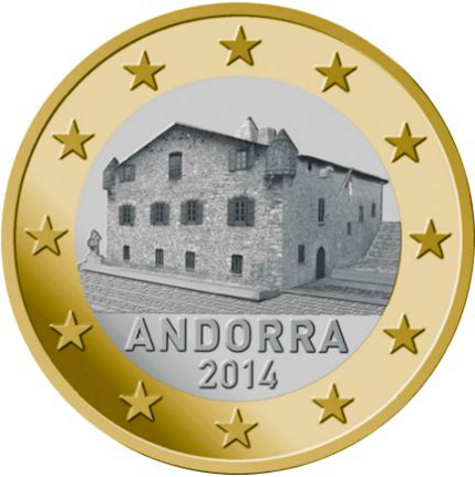 National back side of the 1-euro coin in circulation in Andorra