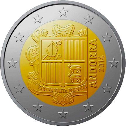 National back side of the 2-euro coin in circulation in Andorra