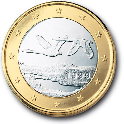 National back side of the 1-euro coin in circulation in Finland