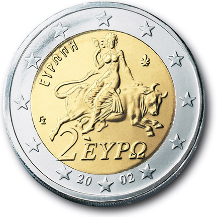 National back side of the 2-euro coin in circulation in Greece