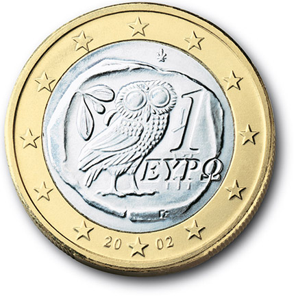 National back side of the 1-euro coin in circulation in Greece