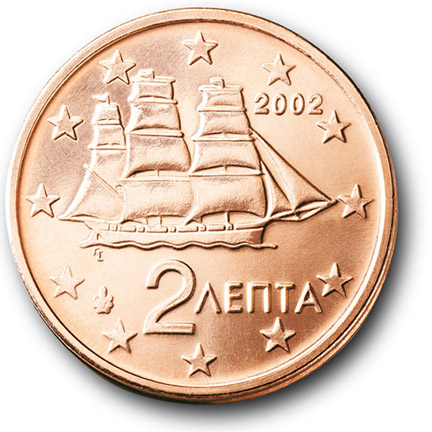 National back side of the 2-cent coin in circulation in Greece