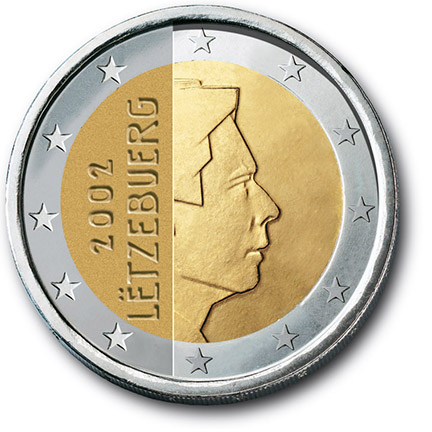 National back side of the 2-euro coin in circulation in Luxembourg