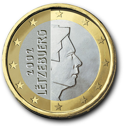 National back side of the 1-euro coin in circulation in Luxembourg