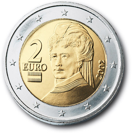 National back side of the 2-euro coin in circulation in Austria