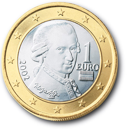 National back side of the 1-euro coin in circulation in Austria