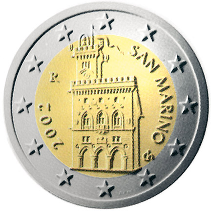 National back side of the 2-euro coin in circulation in San Marino