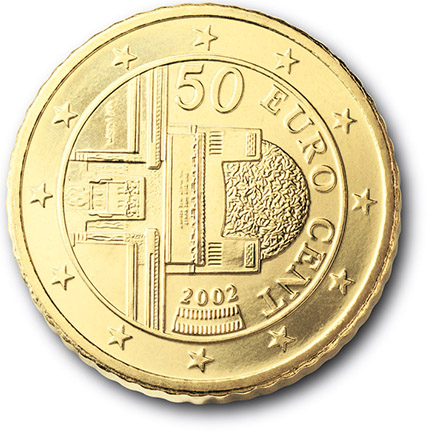 National back side of the 50-cent coin in circulation in Austria