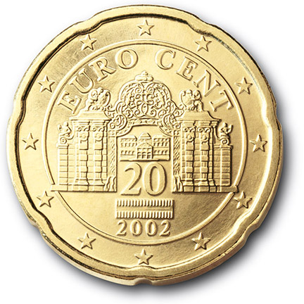 National back side of the 20-cent coin in circulation in Austria