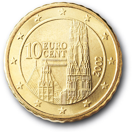National back side of the 10-cent coin in circulation in Austria