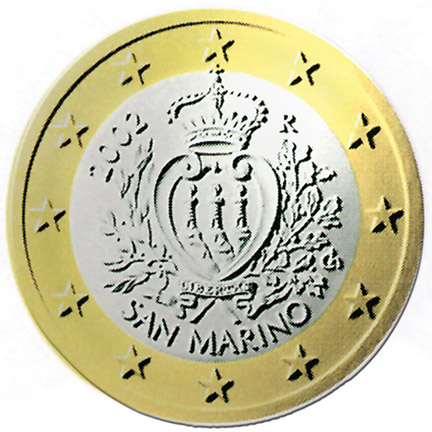 National back side of the 1-euro coin in circulation in San Marino