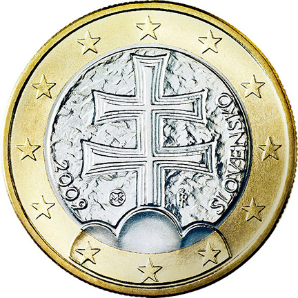 National back side of the 1-euro coin in circulation in Slovakia