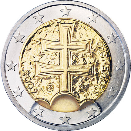 National back side of the 2-euro coin in circulation in Slovakia