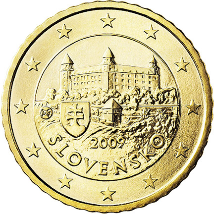 National back side of the 50, 20 and 10-cent coin in circulation in Slovakia
