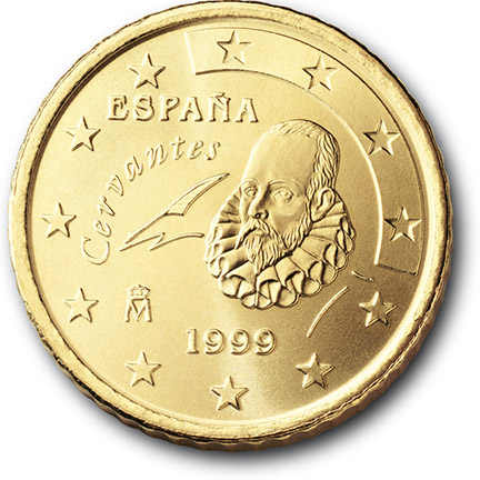National back side of the 50, 20 and 10-cent coin in circulation in Spain