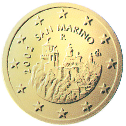 National back side of the 50-cent coin in circulation in San Marino