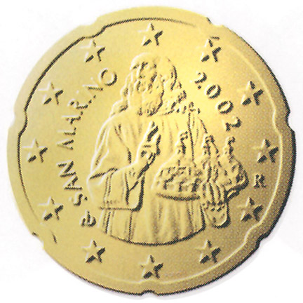 National back side of the 20-cent coin in circulation in San Marino