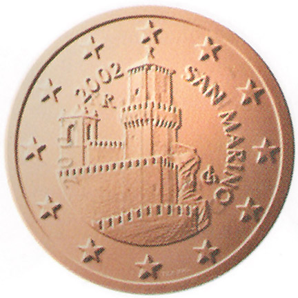 National back side of the 5-cent coin in circulation in San Marino