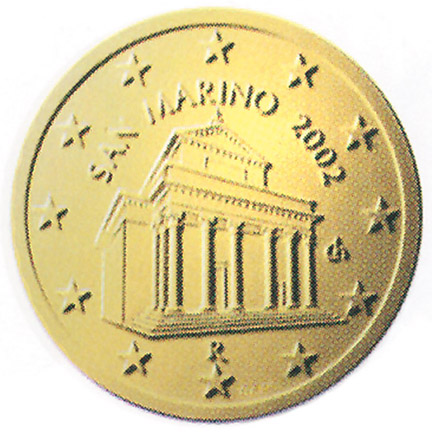 National back side of the 10-cent coin in circulation in San Marino