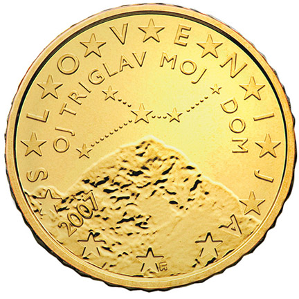 National back side of the 50-cent coin in circulation in Slovenia