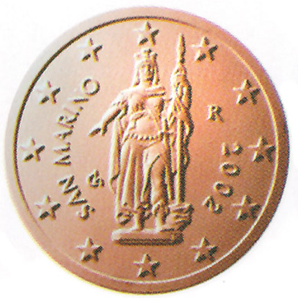 National back side of the 2-cent coin in circulation in San Marino