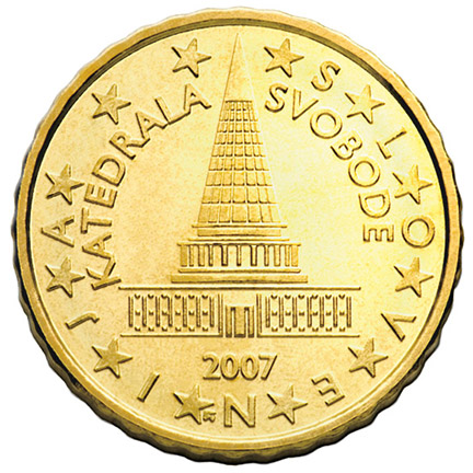 National back side of the 1-euro coin in circulation in Slovenia