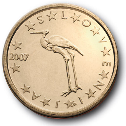 National back side of the 1-cent coin in circulation in Slovenia