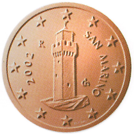 National back side of the 1-cent coin in circulation in San Marino