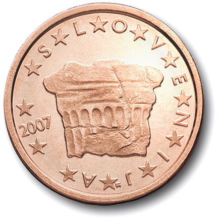 National back side of the 2-cent coin in circulation in Slovenia