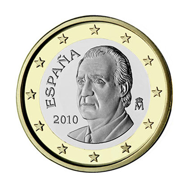 National back side of the 1-euro coin in circulation in Spain, second series
