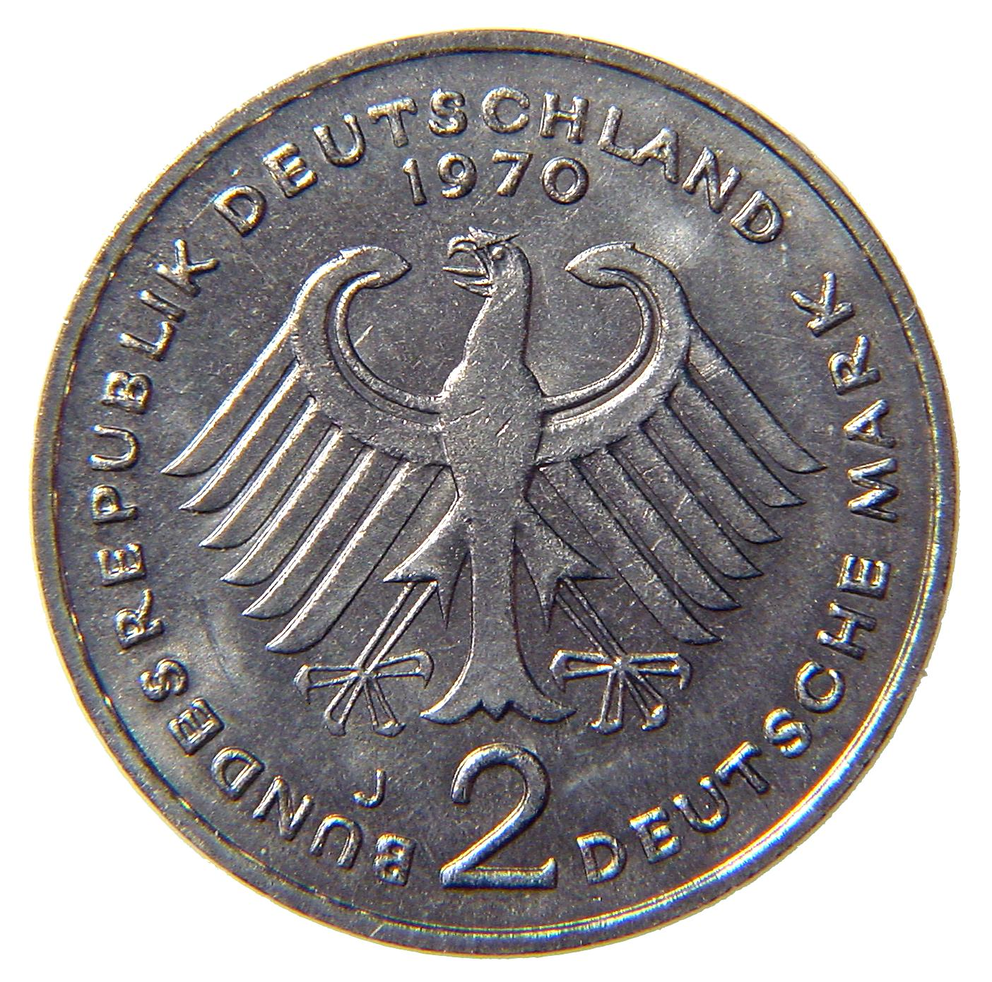 2-DM coin Heuss - reverse